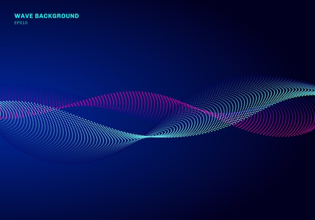 Abstract background network design particle blue and pink wave