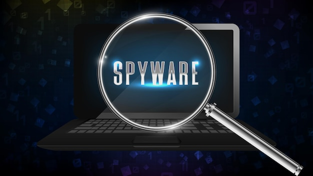 Abstract background of notebook computer laptop find spyware software with magnifying glass