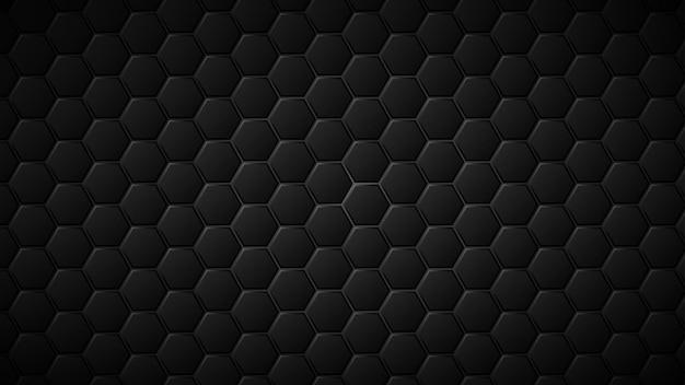 그들 사이에 회색 간격이 있는 검은색 육각형 타일의 추상적인 배경