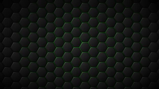 그들 사이에 녹색 간격이 있는 검은색 육각형 타일의 추상적인 배경