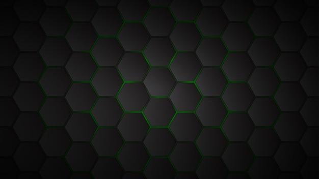 그들 사이에 녹색 간격이있는 검은 육각형 타일의 추상적 인 배경