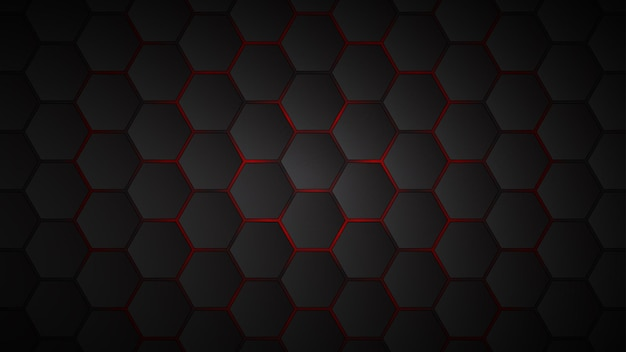 그들 사이에 빨간색 간격이있는 검은 육각형 타일의 추상적 인 배경
