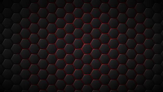 그들 사이에 빨간색 간격이 있는 검은색 육각형 타일의 추상적인 배경