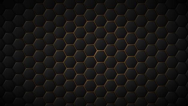그들 사이에 노란색 간격이 있는 검은색 육각형 타일의 추상적인 배경