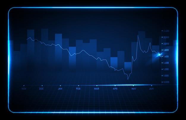 Абстрактный фон синий финансовый график тренда