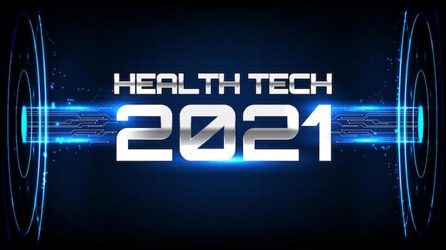 青い未来的な医療技術ケアhudディスプレイインターフェイスの抽象的な背景
