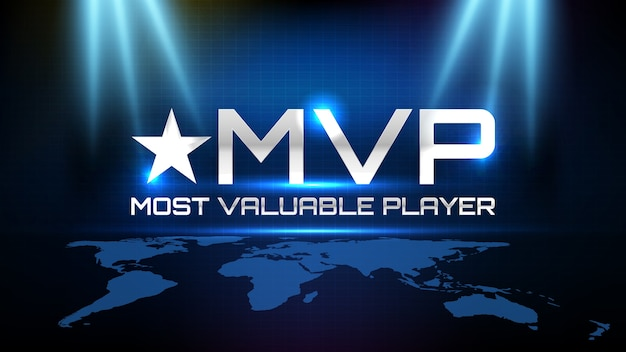 青と黒のモーションラインと最も価値のあるプレーヤー(mvp)テキストを光る青い未来技術の抽象的な背景