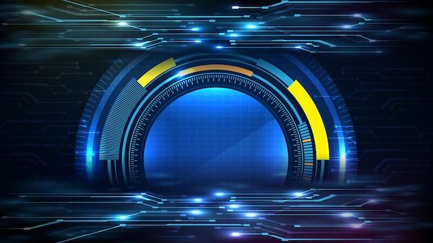 Абстрактный фон синего футуристического технологического интерфейса дисплея hud с планом электрической линии