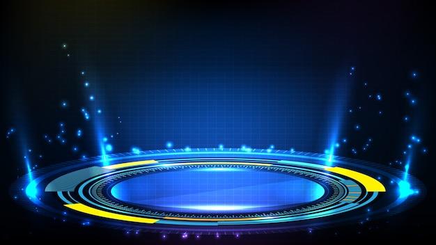青い未来技術のhudディスプレイインターフェイスの抽象的な背景