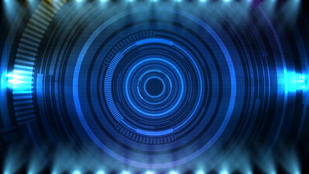 파란색 미래 기술 hud 디스플레이 인터페이스의 추상적 인 배경