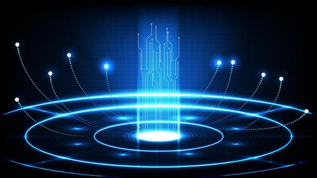 青い未来技術の抽象的な背景丸い穴のhudディスプレイインターフェイス