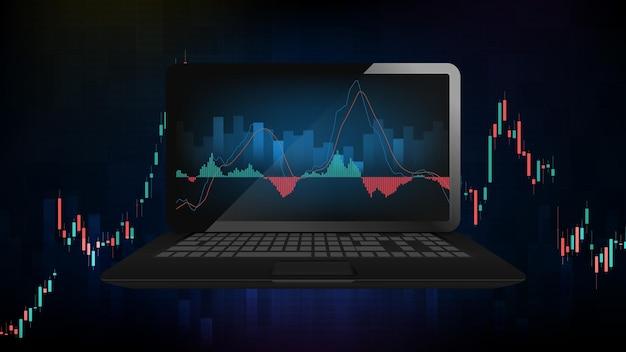 스마트 노트북 컴퓨터에 파란색 미래 기술 거래 주식 시장의 추상적 인 배경