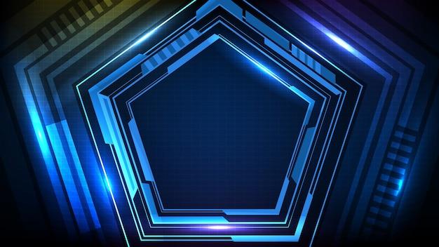 青く光る六角形の星の技術の抽象的な背景sfフレームhudui