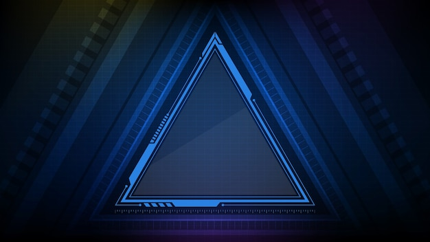 Абстрактный фон голубой светящийся треугольник звезды технологии научно-фантастической рамки hud ui