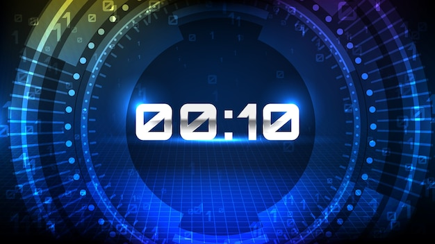 青いhudの抽象的な背景未来的な要素の読み込みカウントダウンデジタル番号