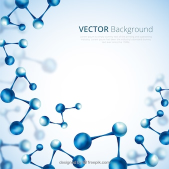 Abstract background of blue molecules