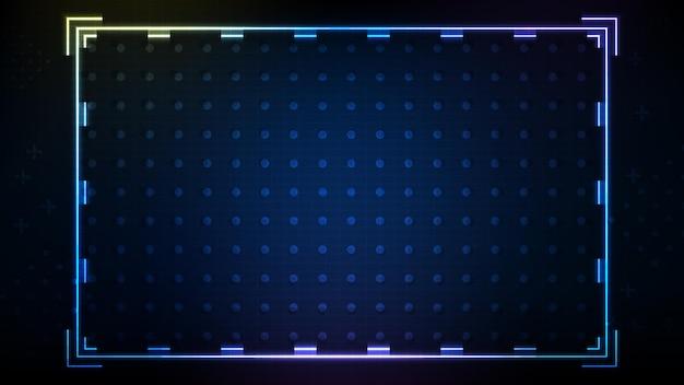 青いネオンhudの抽象的な背景