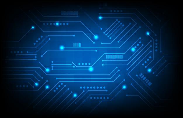 Абстрактная предпосылка голубой платы с печатным монтажом, концепция научной фантастики