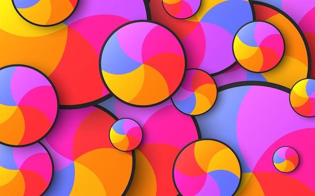 밝은 여러 가지 빛깔된 회전 원의 추상적 인 배경
