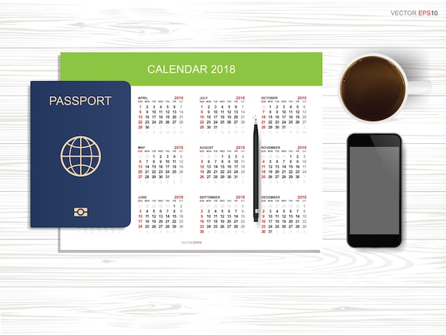 木の上のパスポート、スマートフォン、コーヒーカップとカレンダーの抽象的な背景。観光と旅行のアイデアの背景。ベクトルイラスト。