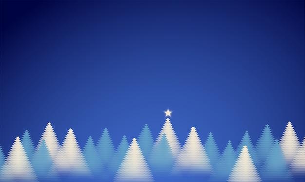 寒い冬の森の抽象的な背景。青い背景に分離された明るい松林。