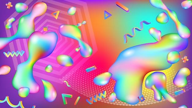 액체와 기하학적 모양의 다채로운 방울의 추상적인 배경. 현대 미래 지향적인 디자인