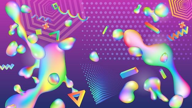 액체와 기하학적 모양의 다채로운 방울의 추상 배경