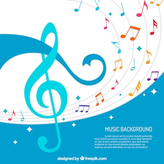 Abstract background of colorful musical notes