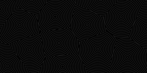 黒い色の同心円の抽象的な背景