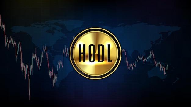 암호 화폐 시장 hodl의 추상적 배경 또는 소중한 생명 및 기술 분석 차트 그래프에 대한 보류