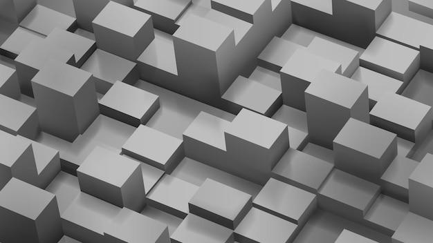 그림자가 있는 회색 색상의 큐브 및 평행육면체의 추상적 배경