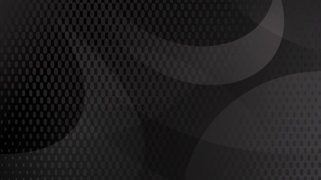Абстрактный фон из изогнутых линий, кривых и полутоновых точек в черном и сером цветах