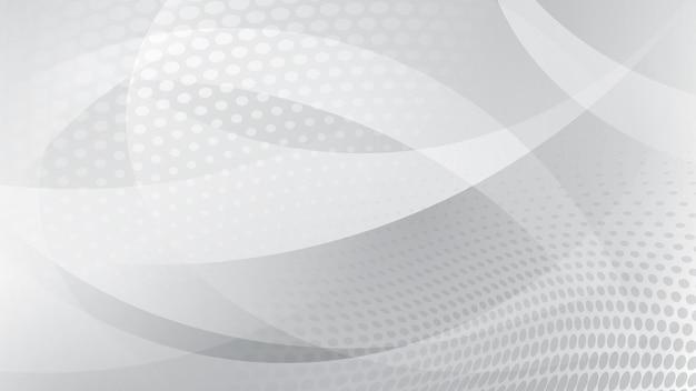 흰색과 회색 색상의 곡선, 곡선 및 하프톤 도트의 추상적 배경