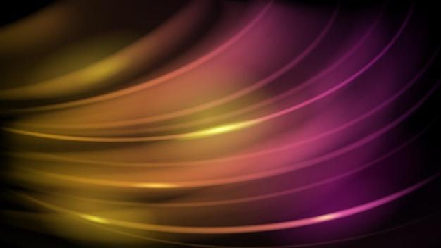 노란색과 보라색 색상의 눈부심과 곡선의 추상적 인 배경