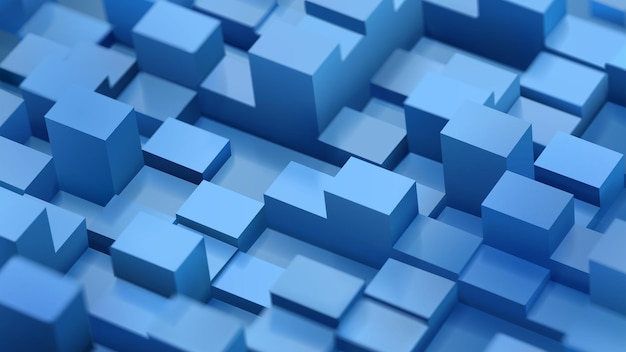 影付きの青い色の焦点がぼけた立方体と平行六面体の抽象的な背景