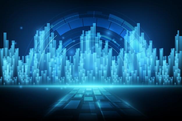미래의 디지털 기술을위한 사이버 공간을위한 디지털 요소 디자인 개념의 추상적 인 배경