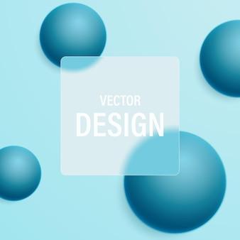 ダイナミックな球体とテキスト用のすりガラスの透明なフレームの抽象的な背景。