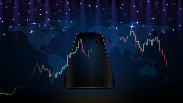 Абстрактный фон футуристического падения цен на новый умный мобильный телефон