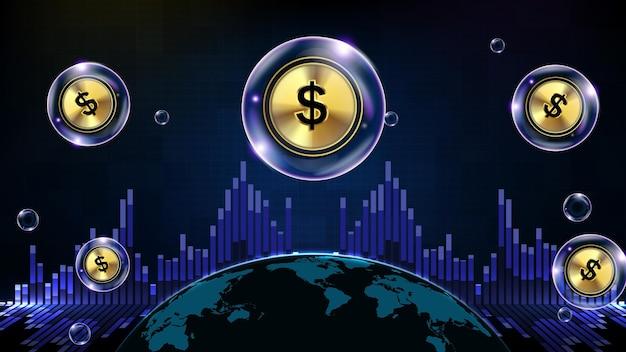 달러 기호와 세계 지도 빛나는 미래 기술 거품의 추상적 인 배경