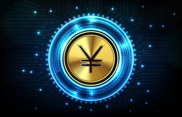 Абстрактная предпосылка футуристической технологии фарфора юаней цифровой валюты с экраном hud ui