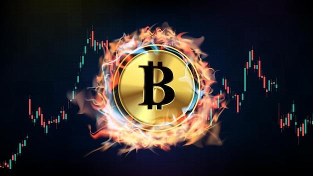 미래 기술 cryptocurrency bitcoin 화재와 연기에 녹는 추상적 인 배경