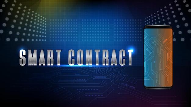 스마트 휴대 전화에 스마트 계약 텍스트와 미래 기술 전자 블루 인쇄 회로 기판 라인의 추상적 인 배경