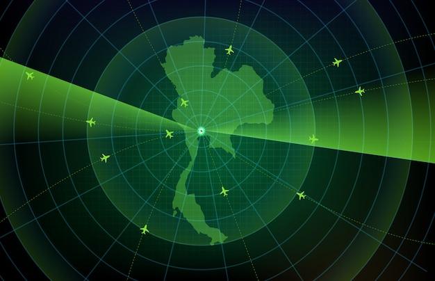 태국지도와 미래 기술 화면 스캔 비행 레이더 비행기 경로 경로의 추상적 인 배경