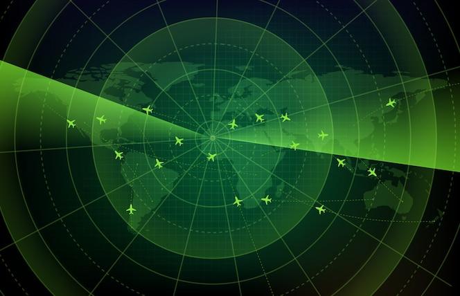 세계지도와 미래 기술 화면 스캔 비행 레이더 비행기 경로 경로의 추상적 인 배경