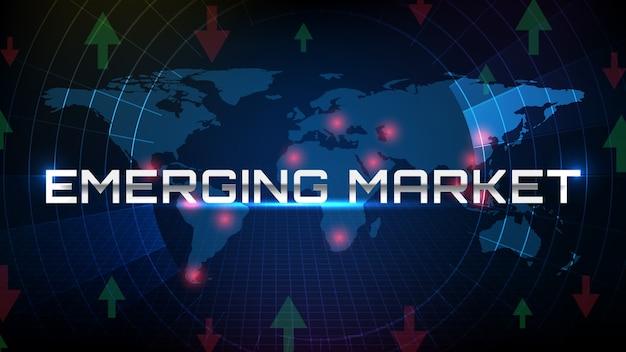 世界地図と新興市場のテキストを備えた未来技術スクリーンスキャンレーダーの抽象的な背景