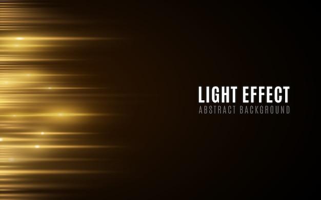 Абстрактный фон из золотых светящихся линий. световой эффект футуристический размытые неоновые линии на темном фоне.