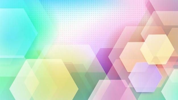 다양한 색상의 육각형과 하프톤 도트의 추상적 배경