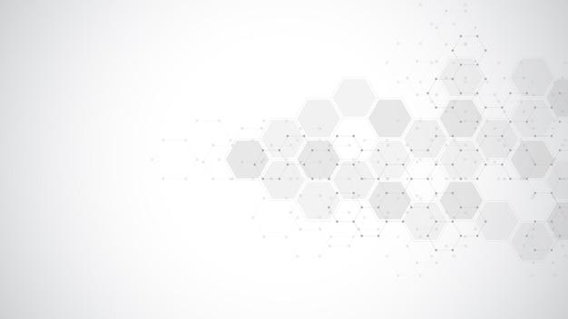육각형 모양 패턴의 추상적인 배경입니다. 의료 기술, 혁신 의학, 건강, 과학 및 연구에 대한 개념과 아이디어.