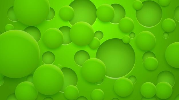Абстрактный фон отверстий и кругов с тенями в зеленых тонах