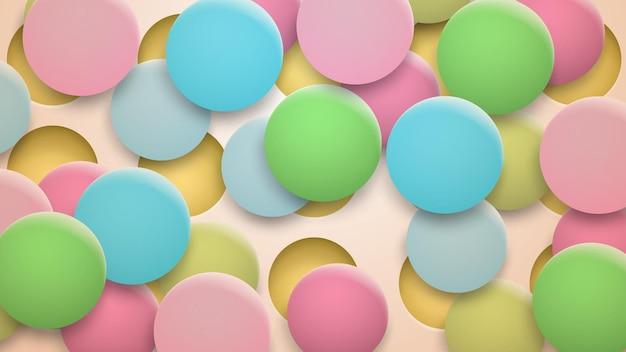 Абстрактный фон из отверстий и разноцветных кругов с тенями